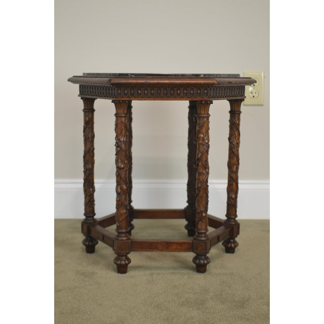 Italian Antique Italian Carved Walnut Hexagon Marble Top Taboret Side Table For Sale - Image 3 of 13