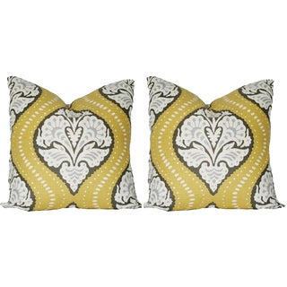 Custom Mustard Yellow Ogee Pillows - A Pair