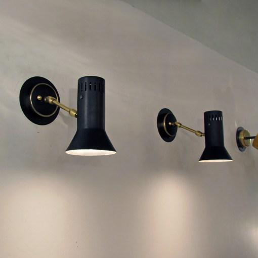 Italian Black Wall Lamps c. 1950s - A Pair For Sale - Image 10 of 10