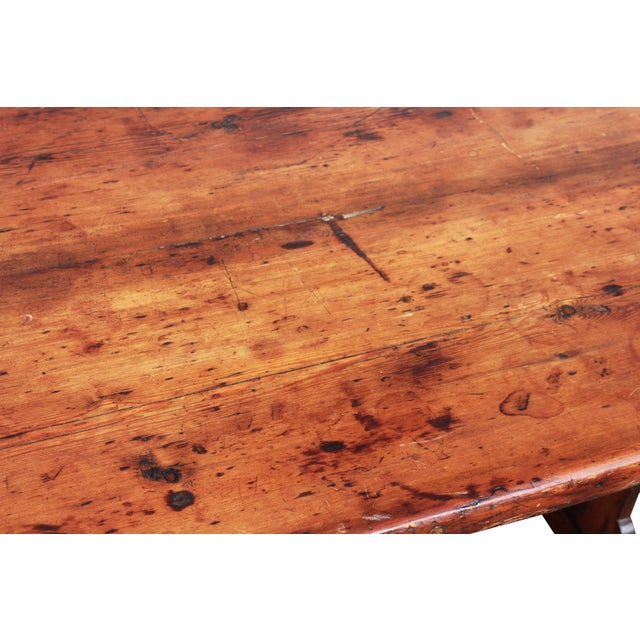 Antique Country Pine Farm Table For Sale - Image 9 of 13