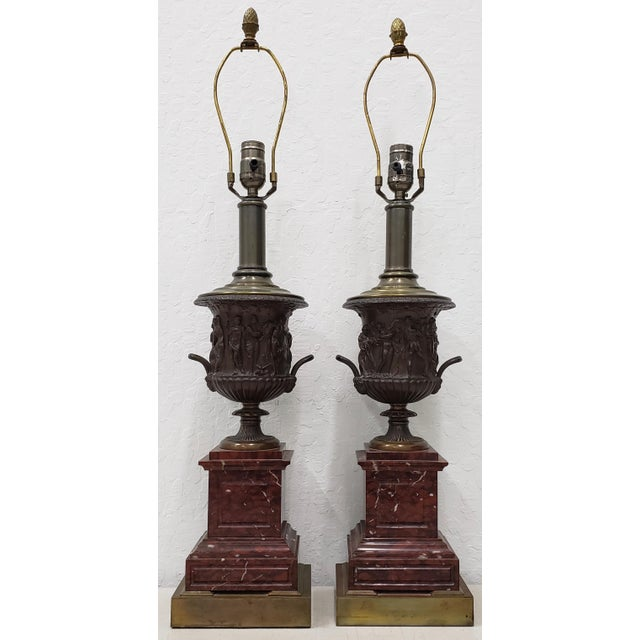 Vintage Classical Roman Bronze Urns & Marble Table Lamps - a Pair For Sale - Image 11 of 11