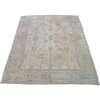 Early 20th Century Antique Turkish Oushak Rug - 9′9″ × 12′7″ For Sale