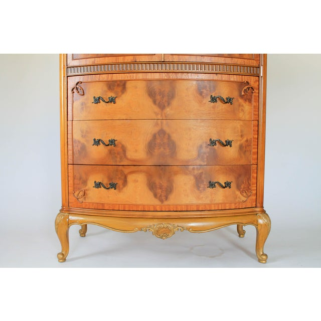 Louis XV Burlwood Bow Front Tall Dresser For Sale In Milwaukee - Image 6 of 13