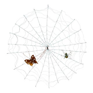 Mid-Century Modern Artisan Wall Sculpture Spider on Web With Animated Butterfly For Sale
