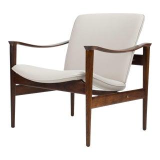 1950s Vintage Vatne Lenestolfabrik Fredrik Kayser Rosewood Lounge Chair For Sale