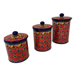 Geribi Deruta Pottery Canister Set - 3 Pieces For Sale