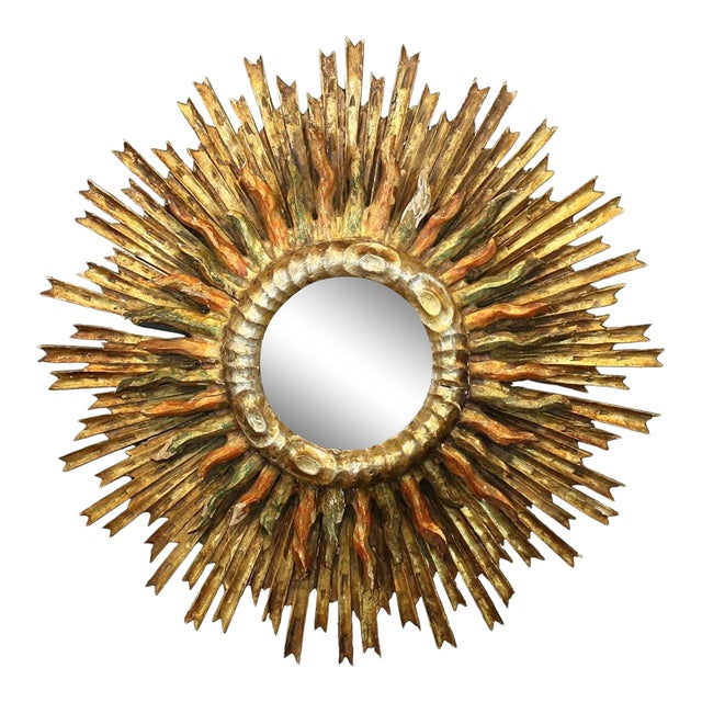 Italian 1890s Giltwood Double Sunburst Mirror with Red and Green Painted Accents For Sale