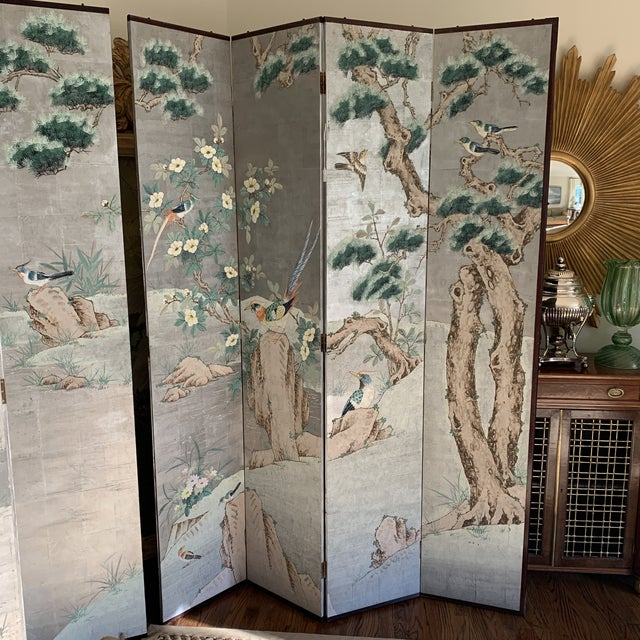 Mid 20th Century Chinoiserie Eight Panel Folding Screen, Silver Leaf With Birds, Peonies and Cherry Blossoms - a Pair For Sale - Image 5 of 13