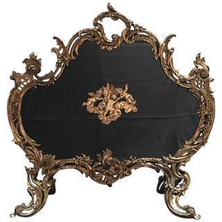 French Polished Brass Fireplace Screen With Decorative Cherubs, 19th Century For Sale