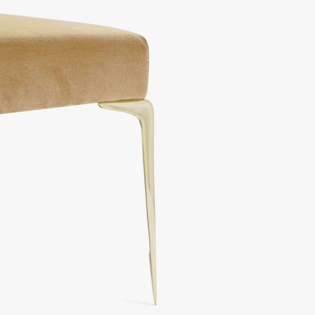 Not Yet Made - Made To Order Colette Brass Ottomans in Camel Velvet by Montage, Pair For Sale - Image 5 of 9