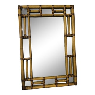 Chinoiserie Painted Bamboo Mirror For Sale