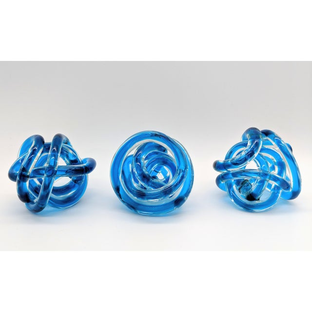 Contemporary Cobalt Blue Knots - Set of 3 For Sale In Houston - Image 6 of 9