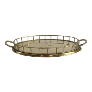 Vintage Brass Faux Bamboo Gallery Tray