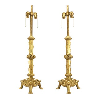 19th Century English Renaissance Style Brass Column Table Lamps-a Pair For Sale