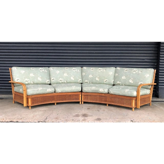 Boho Chic Vintage Ficks Reed Rattan Sectional Sofa Set For Sale - Image 3 of 13