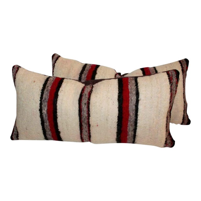 Pair of Handwoven Navajo Saddle Blanket Pillows For Sale