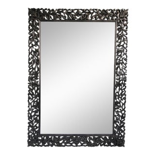 Black Carved Wood Mirror