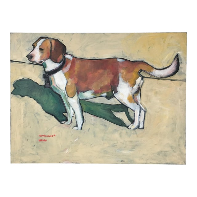 1990s Vintage Contemporary Beagle Dog Portrait Oil Painting Signed by Rise Delmar Ochsner For Sale