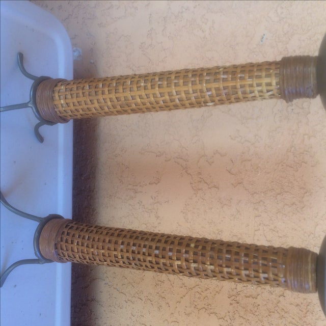 Mid Century Wooden Cane Wrapped Candlesticks - 2 - Image 5 of 5