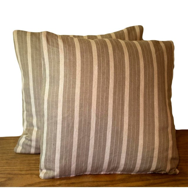 "A pair of custom designer 18""18"" Rogers & Goffigon pillows in the pattern ""Cyclades"" color ""Milos"". The striped pattern is..."
