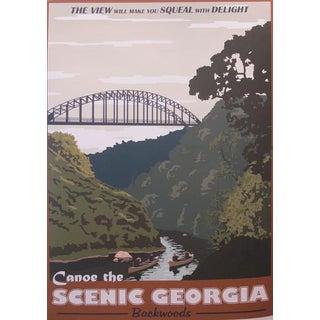 2012 Modern Retro Movie Travel Poster, Canoe the Scenic Georgia Backwoods Preview