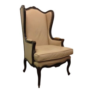 French Leather Wingback Chair with Brass Stud Trim For Sale