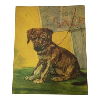 Puppy for Sale Vintage Diana Thorne Print C. 1920s For Sale