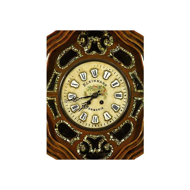 19th-C. French walnut shop clock with abalone inlaid panel surround. painted porcelain face and enameled numbers, and...