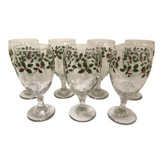 Vintage Libbey Holiday Wine Water Glasses - Set of 7 For Sale
