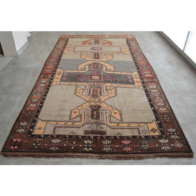 "75″ x 136″ Kurdish Runner Hand Knotted Area Rug ✔ Dimension: 74,8"" x 135,8"" Excluding fringe ✔ Material :The original rug..."