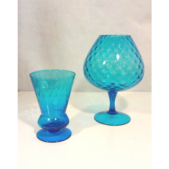 Italian Azure Blue Footed Vases - Pair - Image 2 of 8