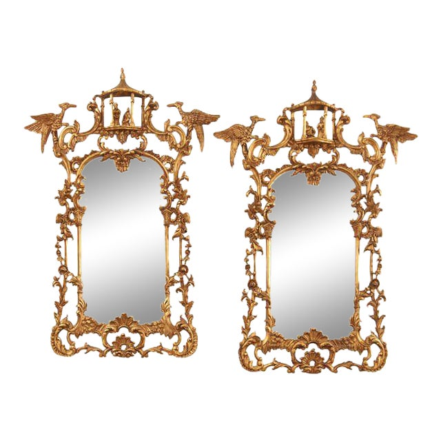 Pair of Chinese Chippendale Style Pagoda Mirrors With Ho Ho Birds For Sale