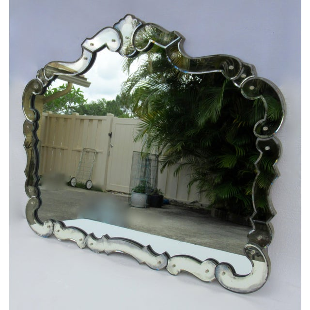Large 1940's-50's Hollywood Regency Era, Venetian-Style Antique Acid Finished Wall Mirror For Sale In West Palm - Image 6 of 13