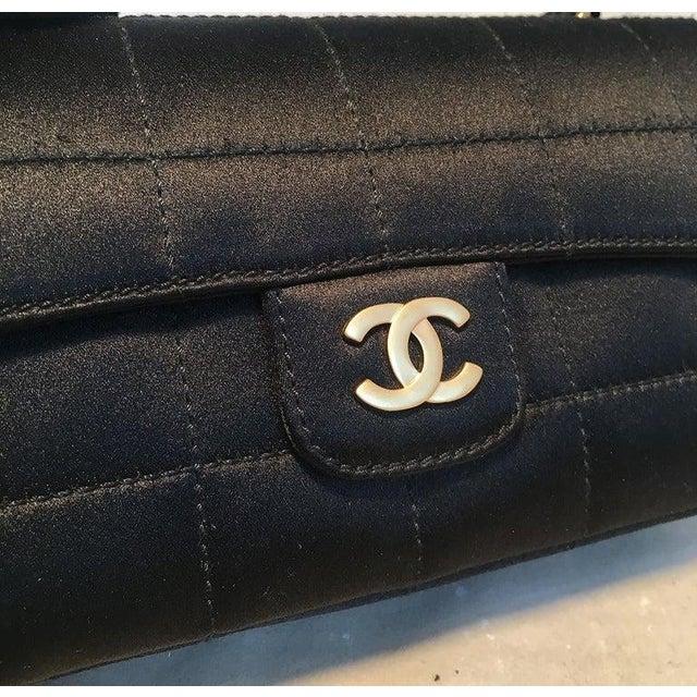 Black Chanel Quilted Black Silk Mini Camellia Classic Flap Shoulder Bag For Sale - Image 8 of 12