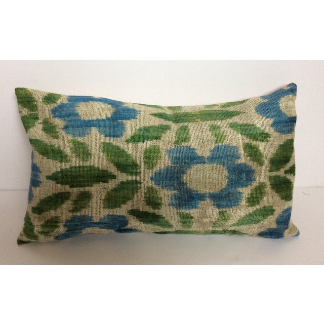 Green & Blue Silk & Velvet Turkish Ikat Pillow - Image 3 of 5