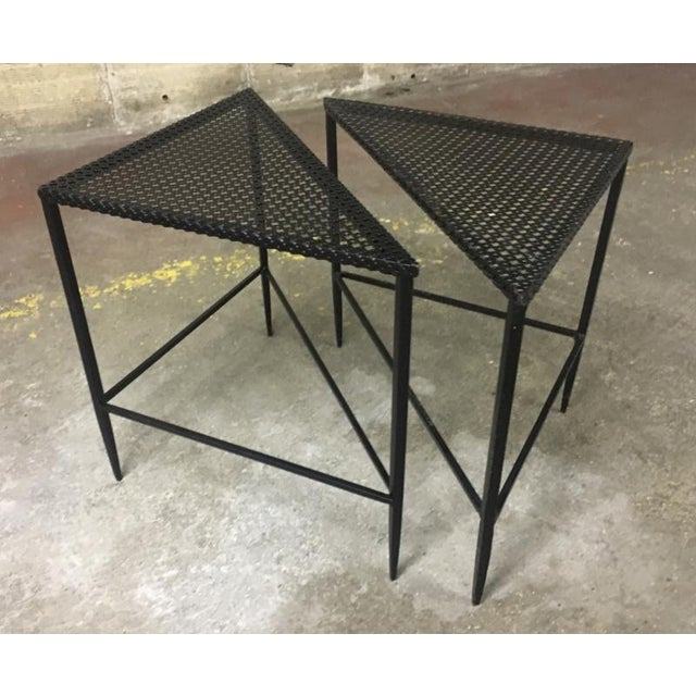 Mathieu Mategot pair of triangle coffee table.