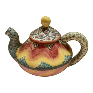 2003 Mackenzie Childs Ceramic Teapot For Sale