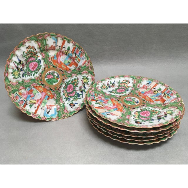 Antique Medium Rose Mandarin Plates - Set of 6 For Sale In New York - Image 6 of 6