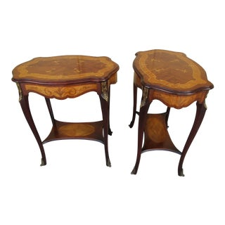 French Marquetry Side Tables - A Pair For Sale