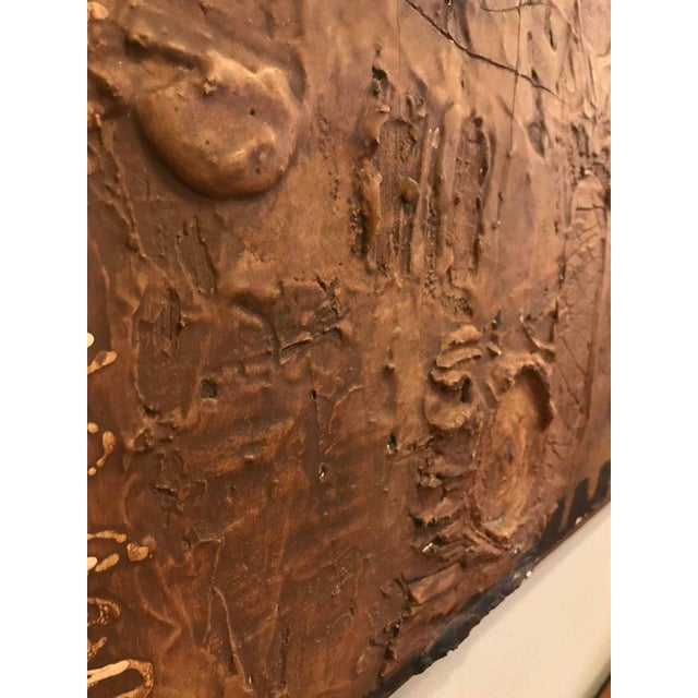 Brown MCM Fine Abstract Oil on Board Signed by Michels Dated 1961, 'Copper Bleeding' For Sale - Image 8 of 11