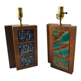 Pair of 1950s Wood Lamps with Enamel Plaques For Sale