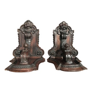 19th Century French Carved Walnut and Veneer Corbels Wall Brackets - a Pair