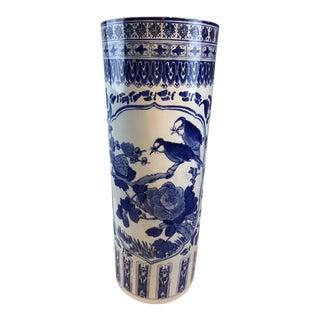 1980s Vintage Blue & White Porcelain Umbrella Stand For Sale