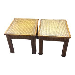 1970s Boho Chic Rattan Bamboo Glass Top Side Tables - a Pair For Sale