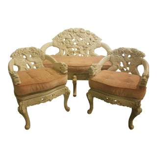 19th Century Chinese Ornate Settee and Chairs - Set of 3 For Sale