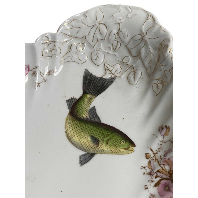19th Century Antique Limoges Style Fish Platter For Sale - Image 5 of 11