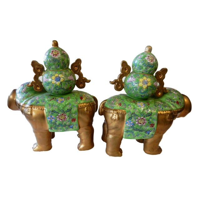 Famille Verte Style Elephants - a Pair For Sale - Image 5 of 10