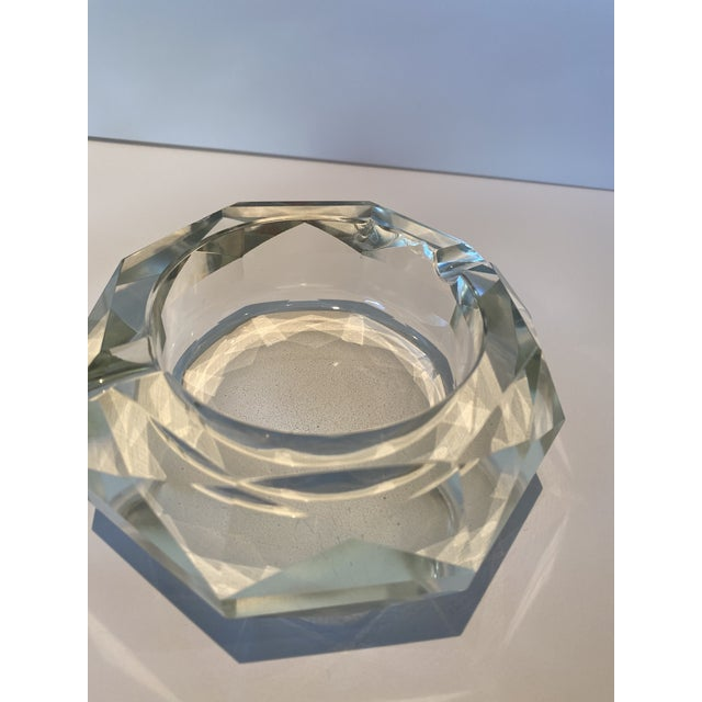 Mid 20th Century Vintage Crystal Table Lighter and Ashtray For Sale - Image 5 of 6