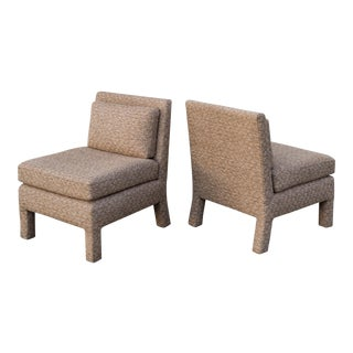 Milo Baughman Style Parsons Slipper Chairs Newly Upholstered - A Pair