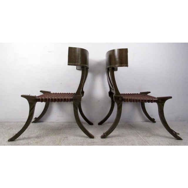T.H. Robsjohn Gibbings Pair of Mid-Century Snake Skin Klismos Chairs After Robsjohn-Gibbings For Sale - Image 4 of 8